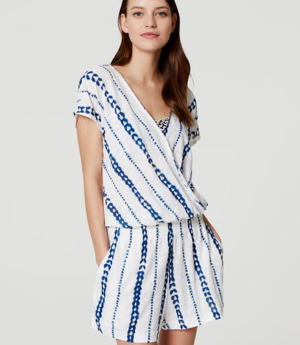 Image of LOFT Beach Arrow Short Sleeve Wrap Romper