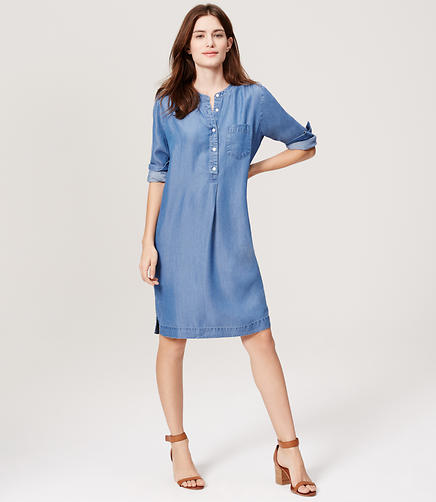 Image of Chambray Shirtdress