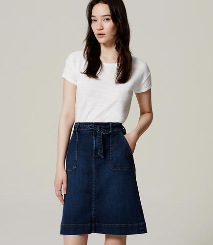 Image of Tie Waist Denim Skirt