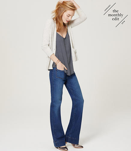 Image of Wide Leg Trouser Jeans in Mid Indigo Wash