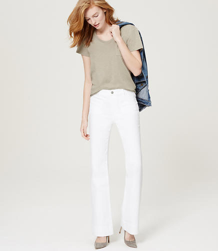 Image of Petite Wide Leg Trouser Jeans in White