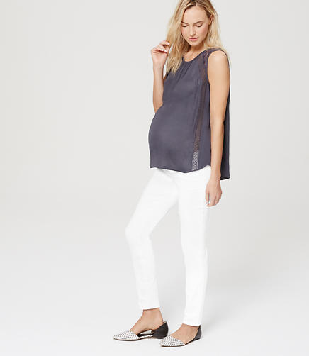Image of Petite Maternity Roll Panel Skinny Jeans in White
