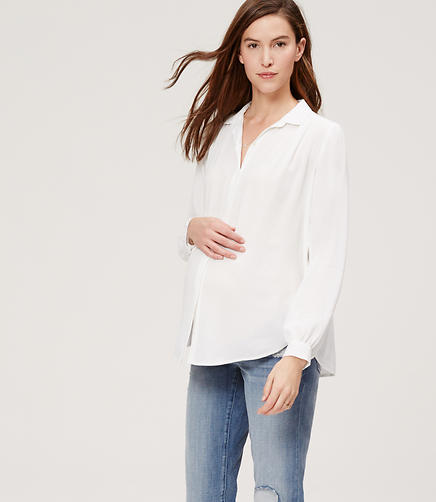 Image of Maternity Shirred Sonnet Blouse
