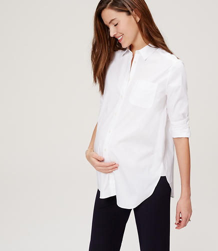 Image of Maternity Crisp Tunic Softened Shirt