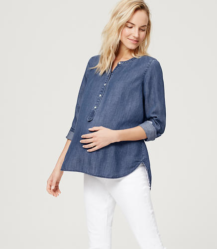 Image of Maternity Collarless Chambray Softened Shirt