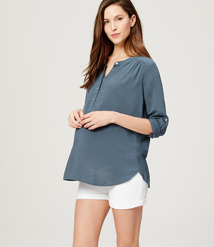 Image of Maternity Shirred Utility Blouse