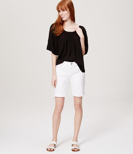 Image of Modern Denim Bermuda Rolled Cuff Shorts in White