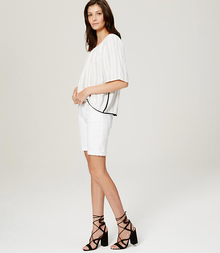 Image of Curvy Denim Bermuda Rolled Cuff Shorts in White