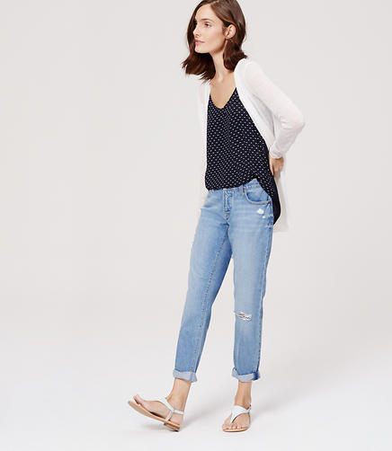 Image of Petite Boyfriend Jeans in Light Indigo Wash