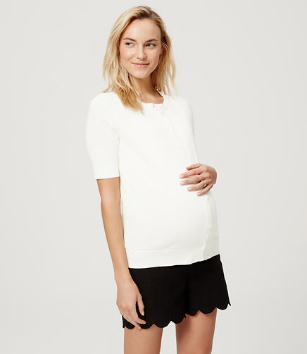 Image of Maternity Short Sleeve Cotton Cardigan