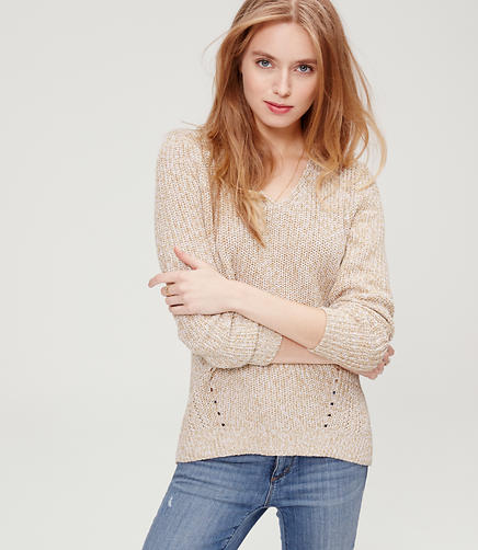 Image of Pointelle Ribbed Sweater