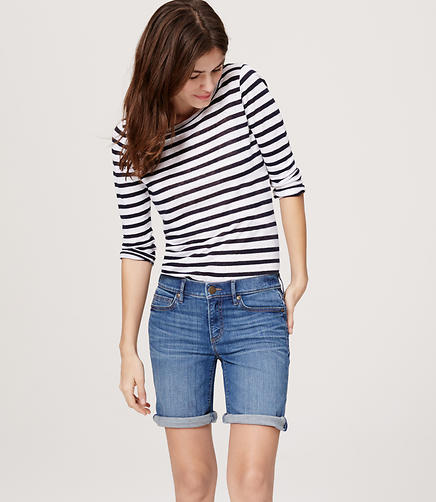 Image of Modern Rolled Cuff Bermuda Shorts in Bright Mid Indigo Wash