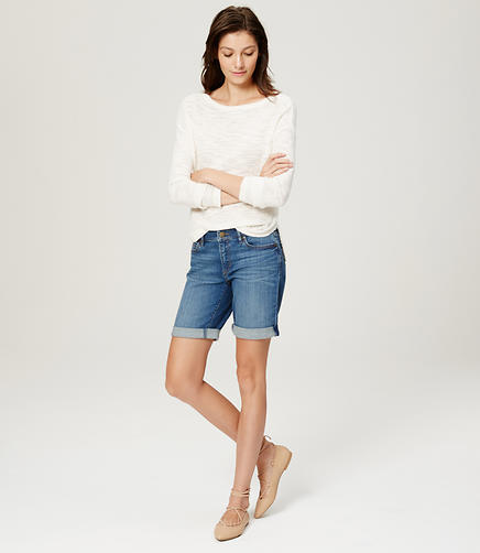 Image of Curvy Rolled Cuff Bermuda Shorts in Bright Mid Indigo Wash