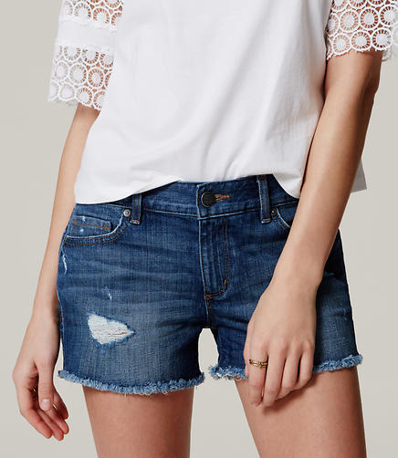 Image of Cut Off Denim Shorts in Distressed Dark Indigo Wash