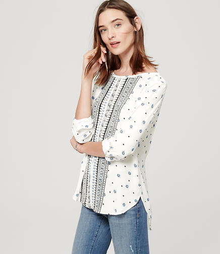 Image of Scroll Tab Sleeve Blouse