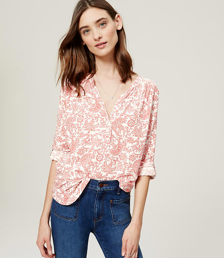 Image of Sunbleached Floral Shirred Utility Blouse