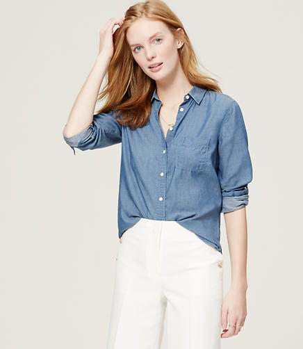 Image of Petite Easy Chambray Softened Shirt