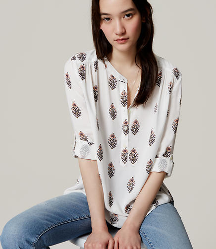 Image of Petite Floral Shirred Utility Blouse