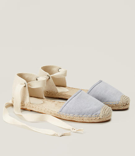 Image of Chambray Ankle Tie Espadrilles
