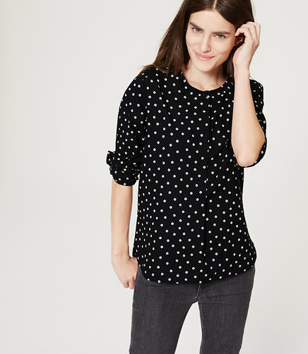 Image of Petite Dotted Henley Blouse