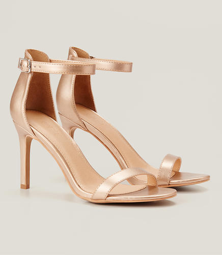 Image of Metallic Ankle Strap Sandals