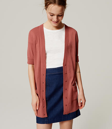 Image of Short Sleeve Long Cardigan
