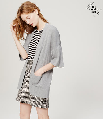 Image of Petite Draped Open Pocket Cardigan