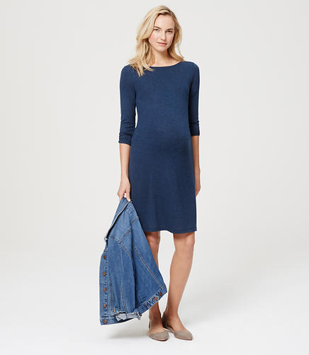 Image of Maternity Melange Side Shirred Dress