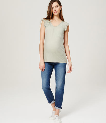 Image of Maternity Boyfriend Jeans in Dark Cargo Blue Wash
