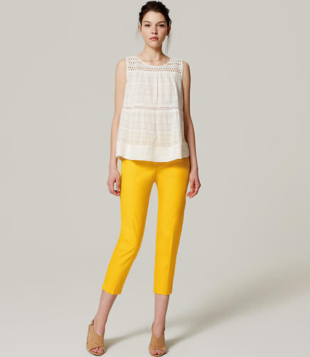 Image of Petite Basketweave Riviera Cropped Pants in Julie Fit