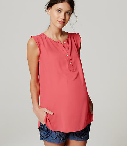 Image of Maternity Ruffle Trim Henley Shell
