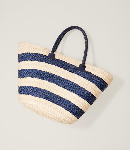 Image of LOFT Beach Striped Straw Bag
