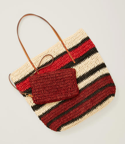 Image of LOFT Beach Striped Straw Bag & Pouch
