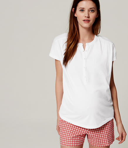 Image of Maternity Shirred Henley Tee