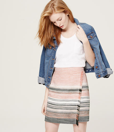 Image of Petite Stripe Fringe Blanket Skirt