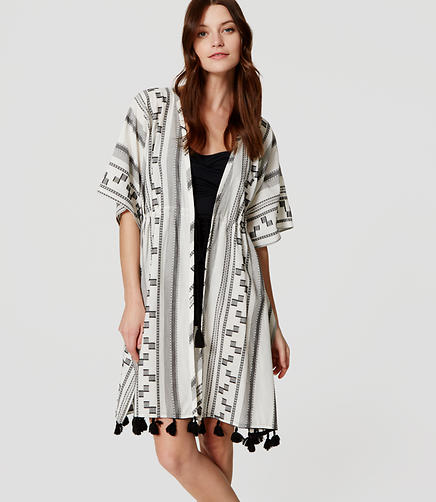 Image of LOFT Beach Sandbar Tasseled Caftan