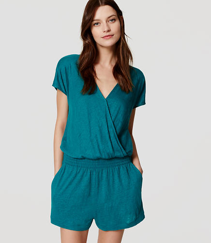 Image of LOFT Beach Short Sleeve Wrap Romper