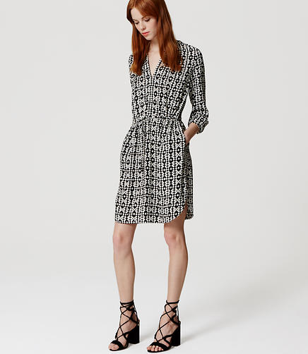 Image of Diamond Tie Waist Shirtdress