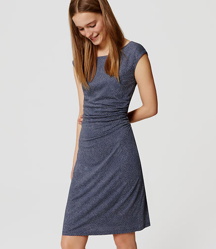 Image of Petite Flecked Side Shirred Dress