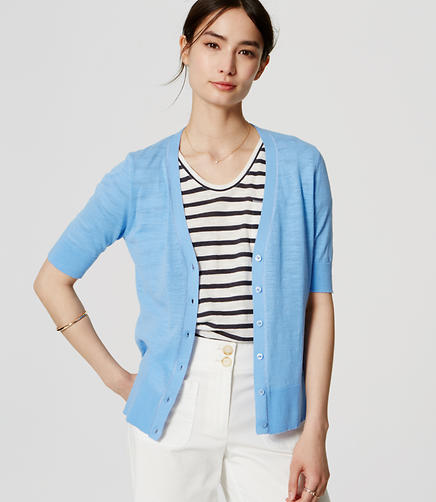 Image of Textured Short Sleeve Cotton Cardigan
