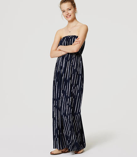 Image of LOFT Beach Tidal Strapless Maxi Dress