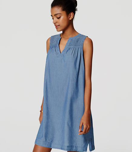 Image of Smocked Chambray Dress