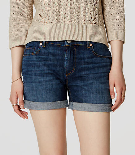 Image of Relaxed Skinny Denim Shorts in Vintage Dark Indigo