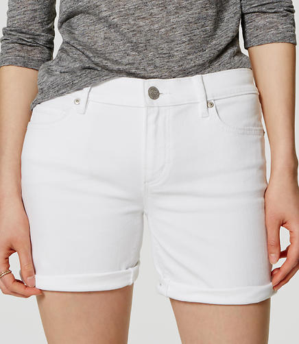 Image of Denim Bermuda Flip Cuff Shorts in White
