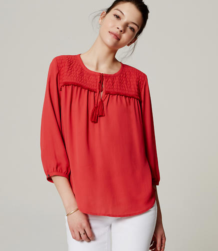 Image of Quilted Tassel Blouse