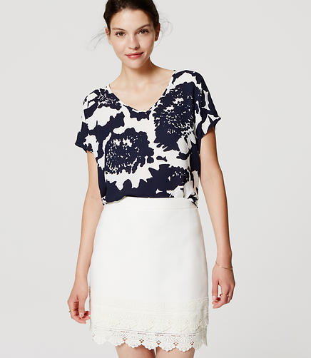 Image of Monochrome Floral Mixed Media Top