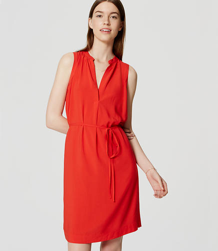 Image of Sleeveless Tie Waist Shirtdress