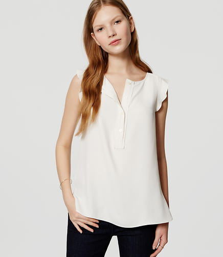 Image of Ruffle Trim Henley Shell
