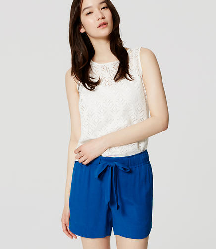 Image of Fluid Tie Waist Shorts with 5