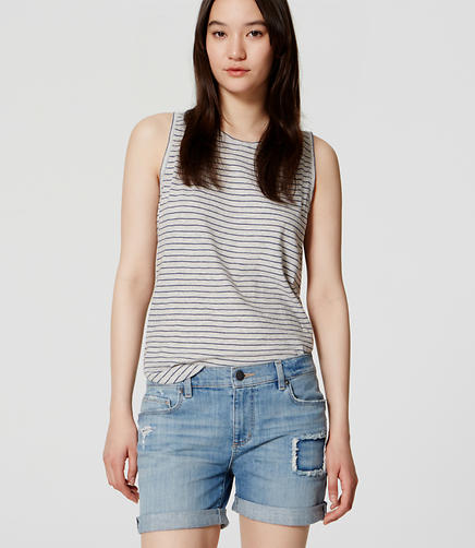 Image of Relaxed Skinny Denim Shorts in Light Mid Indigo Wash